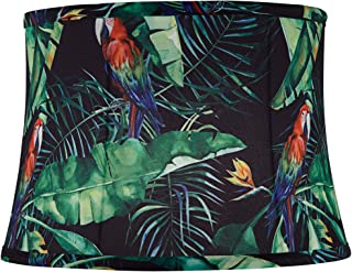 Tropical  Summer Bright Colourful Palm Leaves Drum Lampshade Table Ceiling