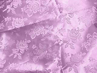 Brocade Jacquard Satin Fabric By the Yard, 60-Inches Wide, Lilac.