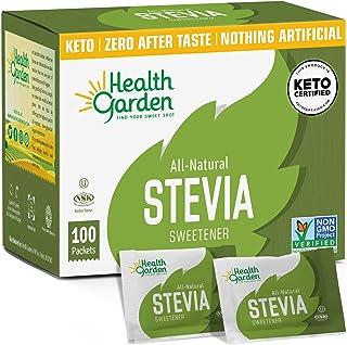 Health Garden Stevia Sweetener Powder - All Natural - Kosher - Gluten and Sugar Free - Keto Friendly (100 Packets)