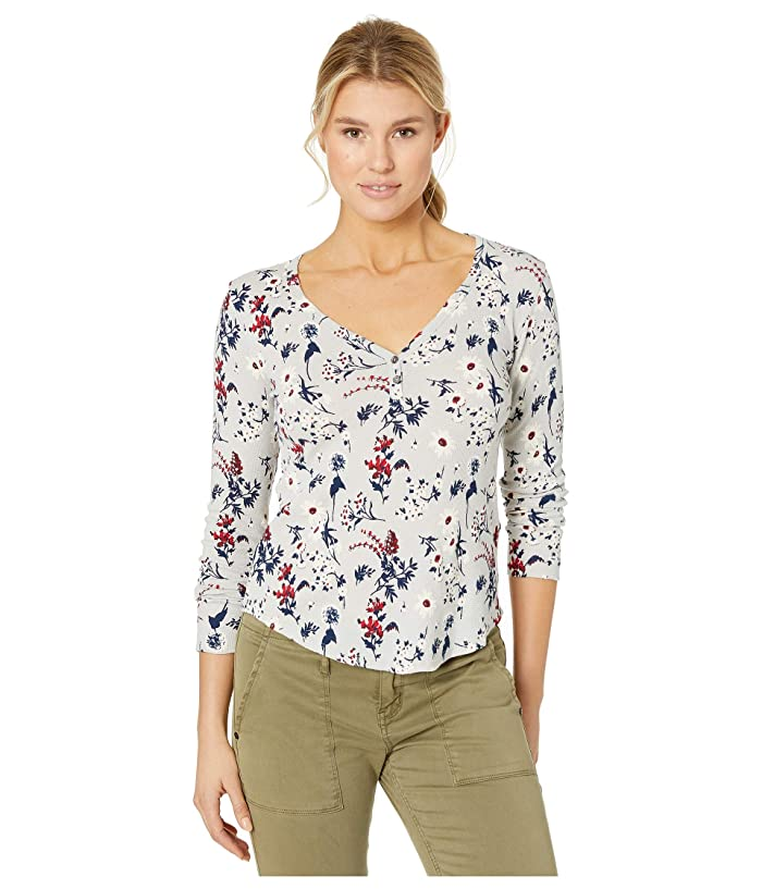 Lucky Brand  All Over Printed Thermal Top (Grey Multi) Womens Clothing