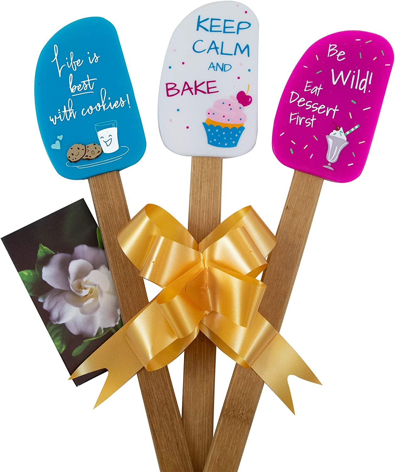 3 Piece Fun Silicone Spatula Gift Time sale and lovely Manufacturer regenerated product with Set bow photo