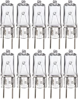"Simba Lighting Halogen Light Bulb G8 T4 50W JCD Bi-Pin (10 Pack) Longer 1.7"" Length for Kitchen Hood, Landscape Lights, Desk and Floor Lamps, Wall Sconces, 120V Dimmable, 2700K Warm White"