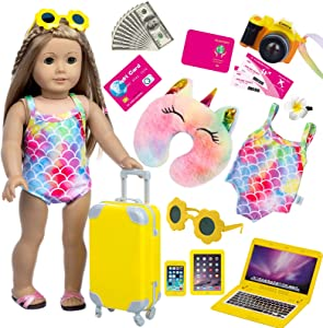 BDDOLL American 18 Inch Girl Doll Clothes and Accessories Dolls Travel Suitcase Luggage Play Set for 18 Inch Doll Including Sunglasses Camera Computer Phone Ipad