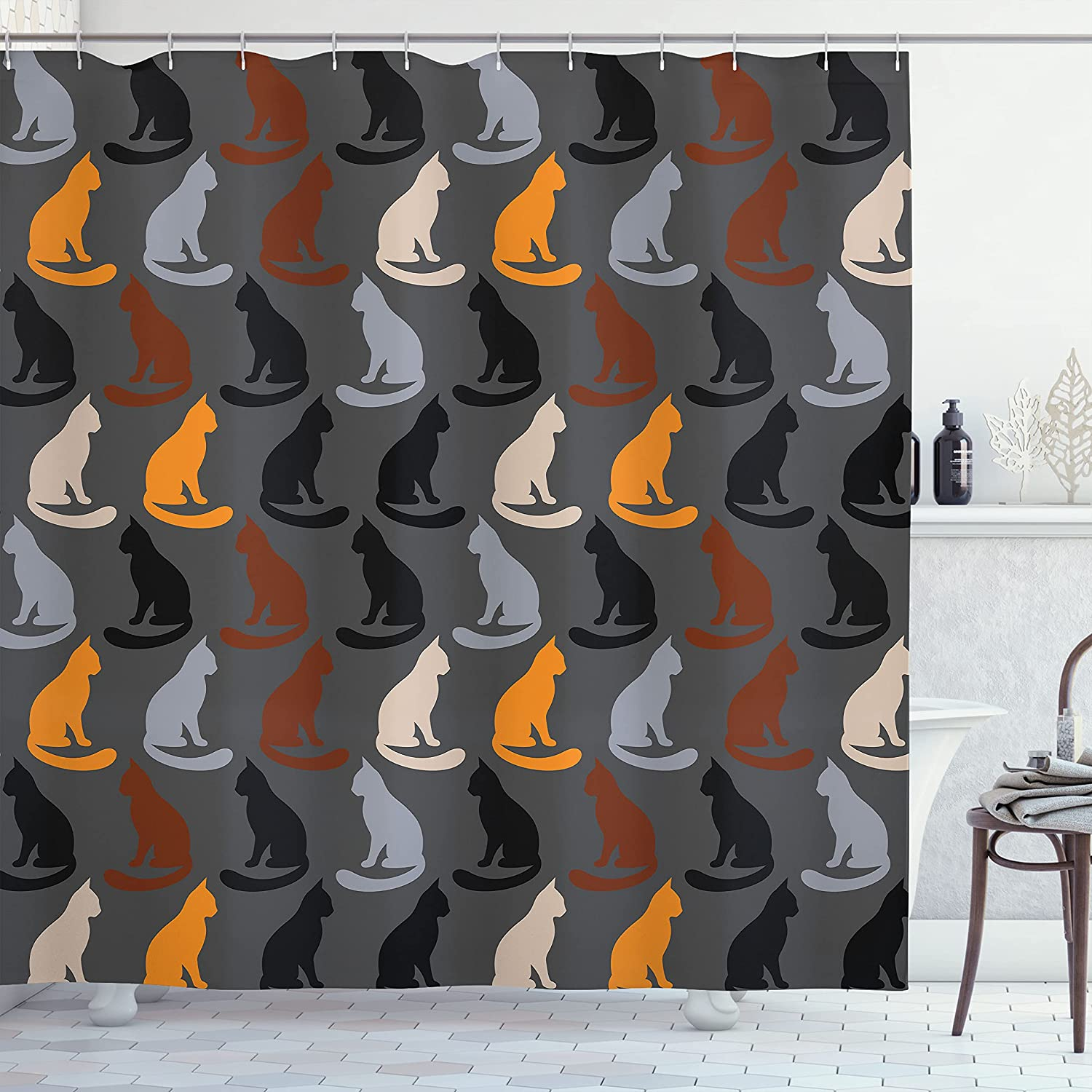 Ambesonne Cat Shower Popular Clearance SALE! Limited time! popular Curtain of Sitting Pattern Silhouettes
