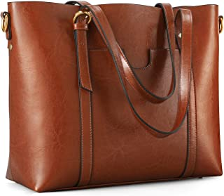 Women's Genuine Leather Tote Bag Vintage Large Capacity Satchel Work Purses and Handbags with Ajustable Straps