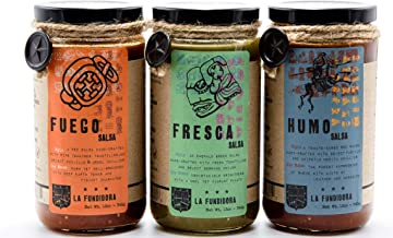 La Fundidora Traditional Mexican Salsas, Authentic Recipe, Smooth Style Sauce, Small Batch, All Natural, No Preservatives, Medium-Hot, 12 fl oz, Variety Pack