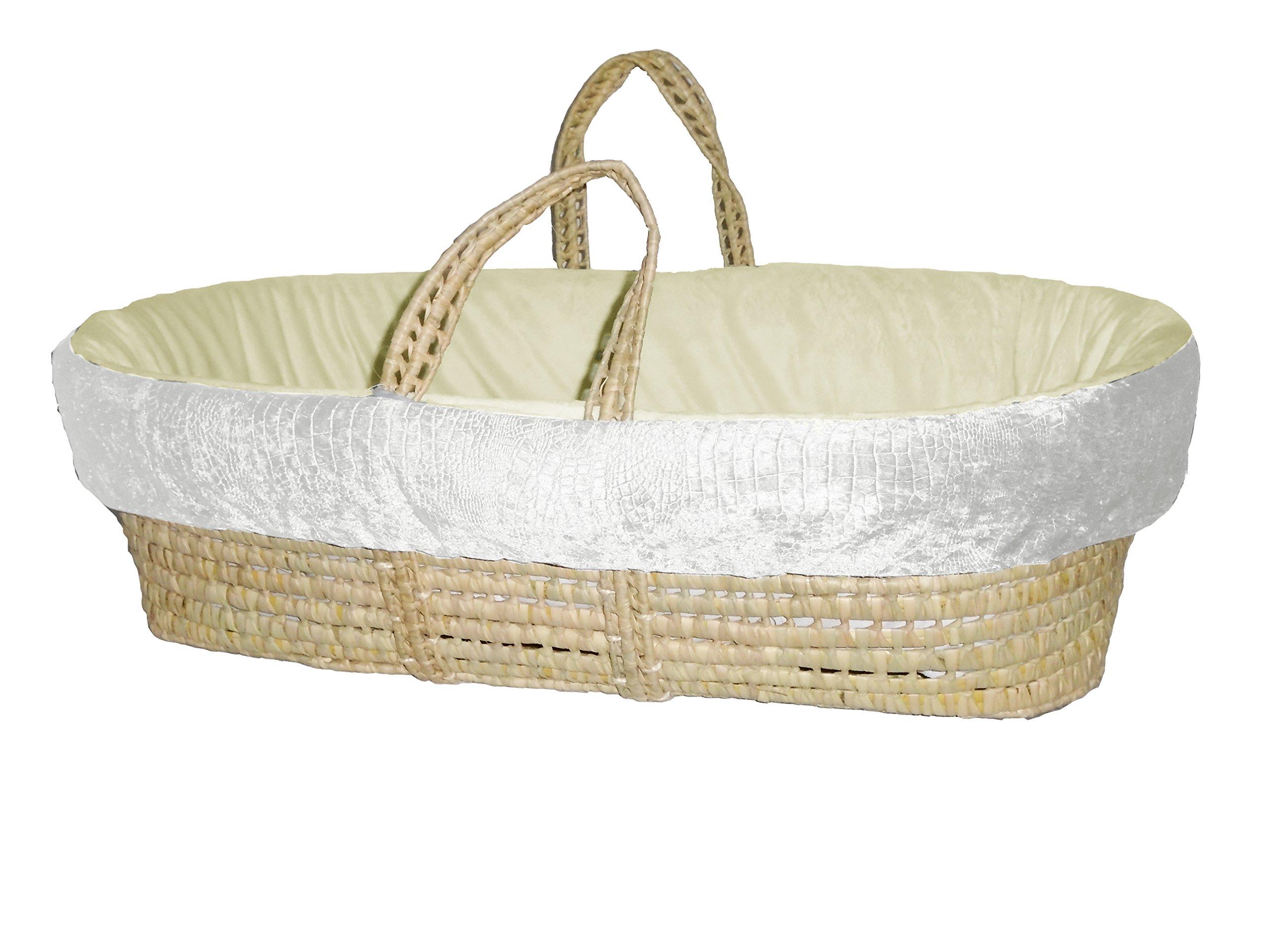 Grey//Beige BabyDoll Croco Minky Moses Basket Set