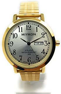 21daa1947 Mens Water Resistant Miykon Watch Day Date Stretch Elastic Band Fashion  Watch
