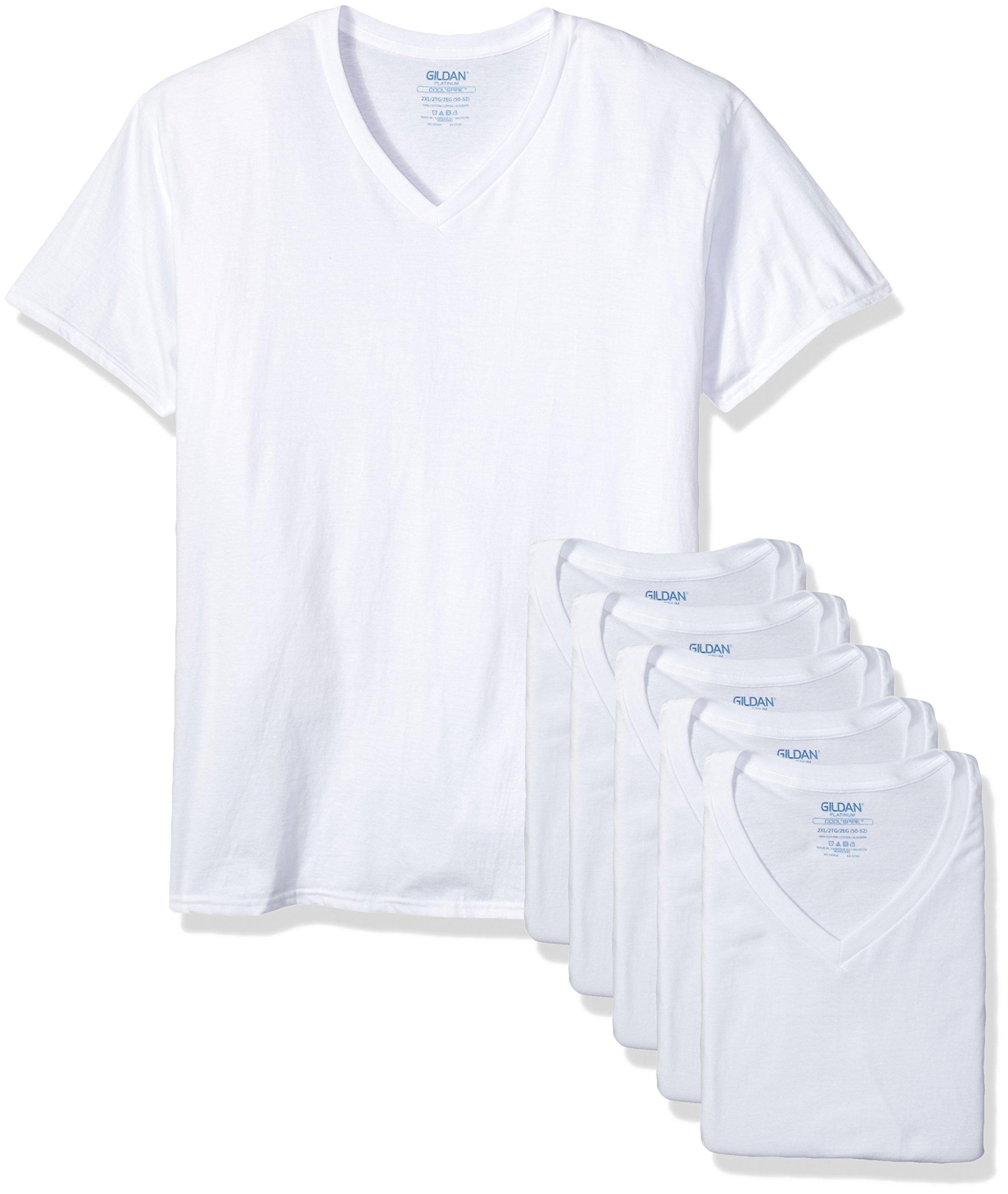 Gildan Platinum Men's 5-Pack V-Neck T-Shirt 2XL