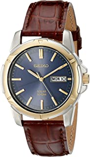 Seiko Men's Stainless Steel Solar Watch with Brown Leather Strap