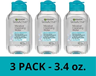 Garnier SkinActive Micellar Cleansing Water, All-in-1 Waterproof Makeup Remover and Facial Cleanser, 3.4 fl oz, 3 Pack