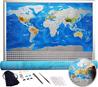 Scratch Off World Map Poster. Silver Land and Blue Ocean - Large Detailed Scratch Off Map of The World 32x23