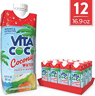 Vita Coco Coconut Water, Peach & Mango, 16.9 Oz (Pack Of 12)