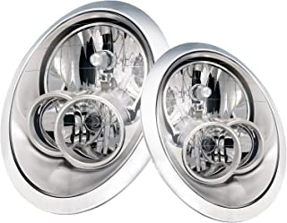 PERDE Compatible with Mini Cooper Headlights Set Chrome Housing with Performance Lens - No Headlight Washers