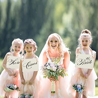 Set of 3 Wedding Signs Here Comes the Bride Signs for Three Ring Bearers and Flower Girls | Page Boy Prop | Ring Pillow Alternative | Wedding Ceremony Banner