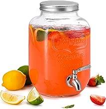 KooK Mason Jar Glass Drink & Beverage Dispenser with Stainless Steel Spigot, 1 Gallon