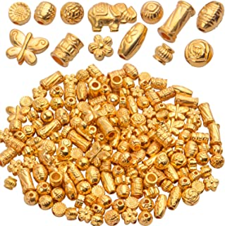 10pc organic shaped gold rondelle beads matte gold beads large hole beads gold heishi beads triangle beads metal spacer beads