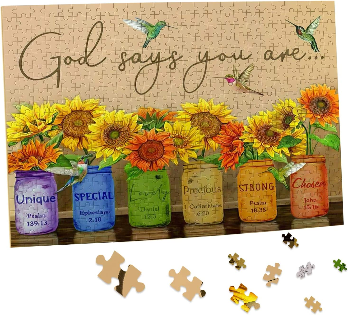 Sunflower Puzzle 500 Piece Puzzles for Adults - Retro Sunflowers and Farmhouse Yellow Flower Hummingbird Animal Inspirational Wooden Jigsaw Puzzles for Family Activities Games - God Says You are: Toys & Games