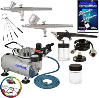 3 Master Airbrush Professional Airbrushing System Kit - Multi-Purpose G22, G25, E91 Gravity & Siphon Feed Airbrushes, Air Compressor, Holder, Color Mixing Wheel, Cleaning Brushes, How-To Guide Booklet