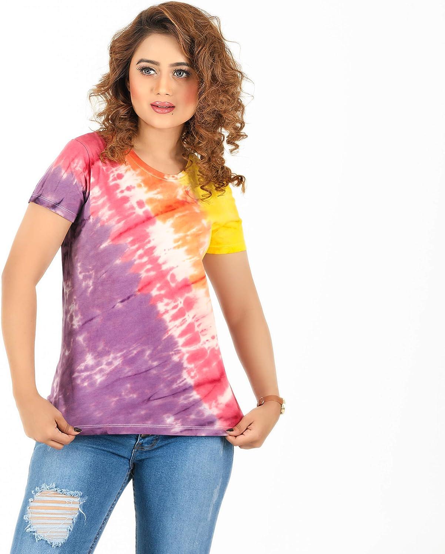 Casual Short Sleeve Tie Dye Shirt Best Tie Dye T Shirt Dress for Womens RNS STAR Tie Dye T-Shirts for Women