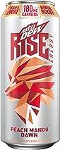 MTN DEW RISE ENERGY, Peach Mango Dawn, 16oz Cans (12 Pack)
