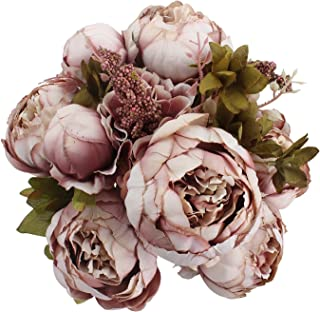 Duovlo Fake Flowers Vintage Artificial Peony Silk Flowers Wedding Home Decoration,Pack of 1 (Sweetened Bean)