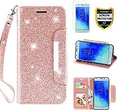 Samsung Galaxy J3 Achieve Case, J3 Star/ J3 V 3rd Gen /J3 Orbit/J3 Express Prime 3/J3 2018/Sol 3/Amp Prime 3 Wallet Phone Case with Screen Protetor Card Holder Wrist Strap for Girls Women, Rose Gold