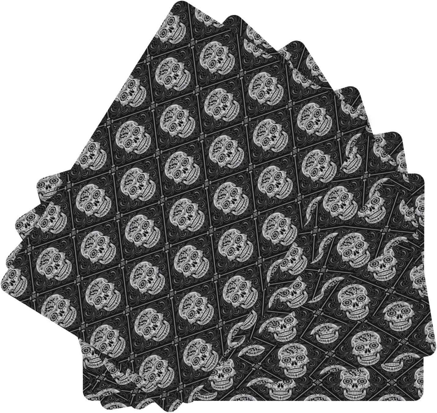 Day of The Dead Leather Table Heat Washable Insula Mats New item Weekly update Set 6