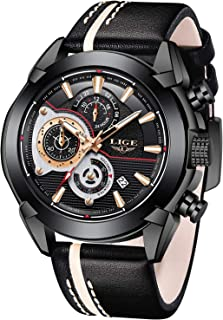 LIGE Watches Mens Casual Sports Chronograph Waterproof Analog Quartz Watch with Black Leather Band Classic Business Big Fa...