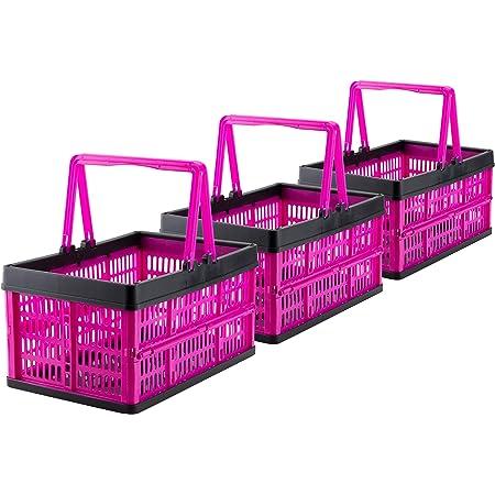 18 x 13 x 8 cm portaoggetti Set di 2 mini cestini decorativi per la spesa in metallo per bagno cucina o corridoio colore: argento con manici blu