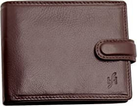 STARHIDE Mens RFID Blocking Real VT Leather Twin ID Card and Coin Pocket Wallet 1213 (Brown)