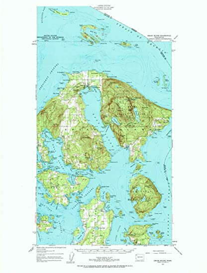 23.7 x 17.8 in Historical 15 X 15 Minute 1:62500 Scale YellowMaps Orcas Island WA topo map 1957 Updated 1963