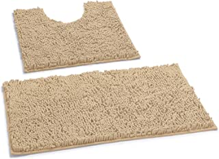 LuxUrux Bathroom Rugs Luxury Chenille 2-Piece Bath Mat Set, Soft Plush Anti-Slip Bath Rug..