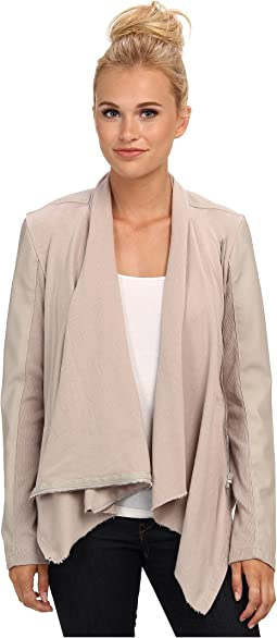 Draped Vegan Leather and Ponte Jacket in Taupe