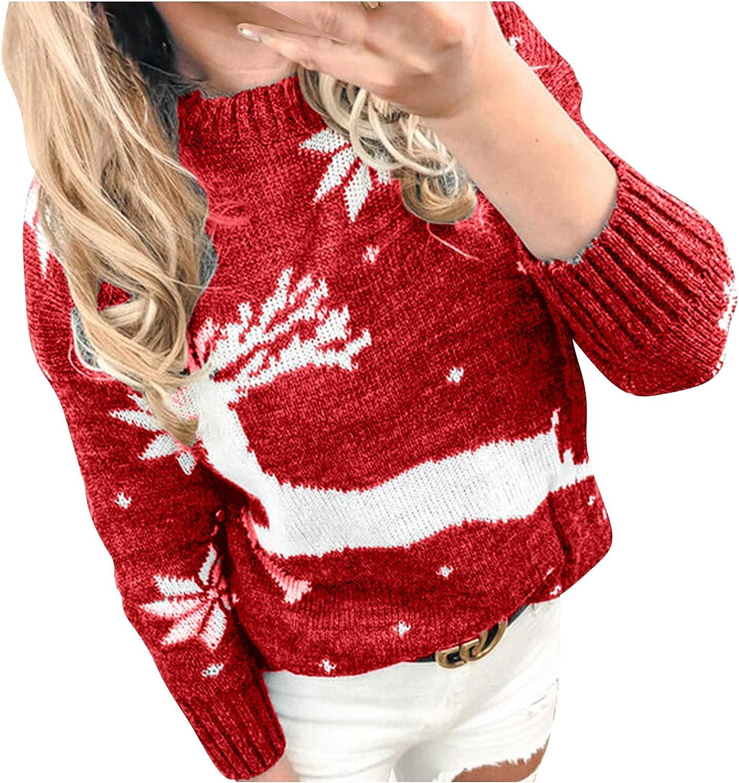 Christmas Women Sweaters,Trendy Plus Size Vintage Lightweight Tops,Long Sleeve Cute Elk Snowflake Print Knit Jumper