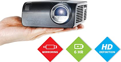 AAXA S2 Mini LED Projector, USBC Smartphone Laptop Mirroring, 6 Hour Built-in Battery, 720p HD Native Resolution (Support 1080p) Portable Projector, Keystone, HDMI, USB, Onboard Media Player, DLP