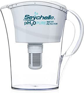 Seychelle pH2O Alkaline Water Filter Pitcher - pH Enhancing Filtration - 100 Gallon Capacity - USA-Made Filter, 32oz