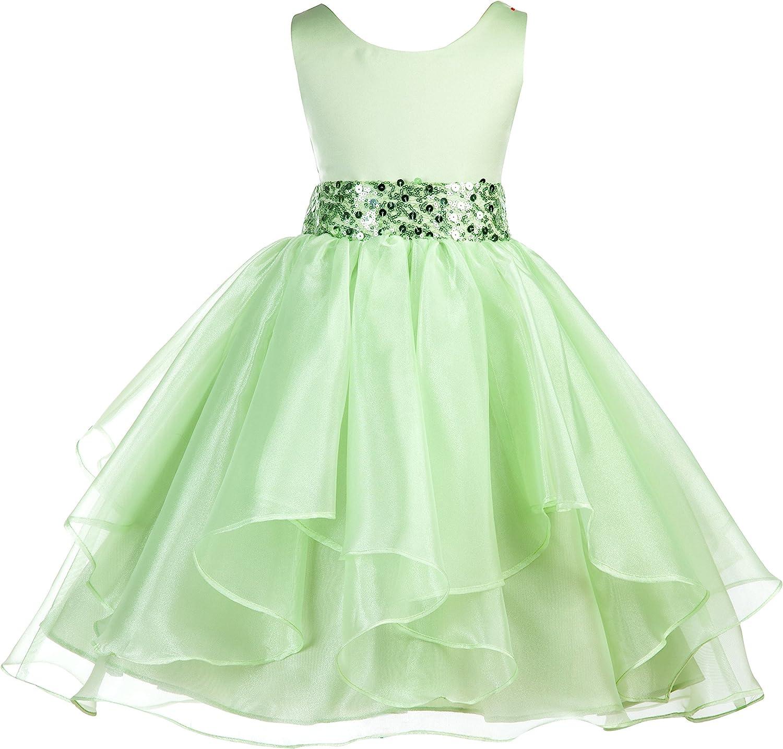 ekidsbridal Asymmetric Ruffled Organza Sequin Flower Girl Dress Princess Dresses 012S 2 Apple Green