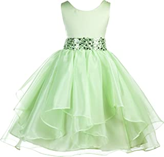 ekidsbridal Asymmetric Ruffled Organza Sequin Toddler Flower Girl Dress Pageant Gown 012S