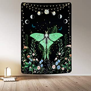 Moon Phase Tapestry Moth Floral Tapestry Black Moon Tapestry Wildflower and Moth Tapestries Asthetic Wall Hanging for Roo...