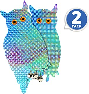 """BRITENWAY Set of 2 Premium Bird Repellent Reflective Hanging Owl Blinders with Bells 16"""" Height – with 2 Bonus Suction Cups for Easy Installation – for Pigeons, Woodpeckers, Ducks & Other Species"""