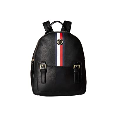 Tommy Hilfiger Imogen Pebble PVC Backpack (Black) Backpack Bags