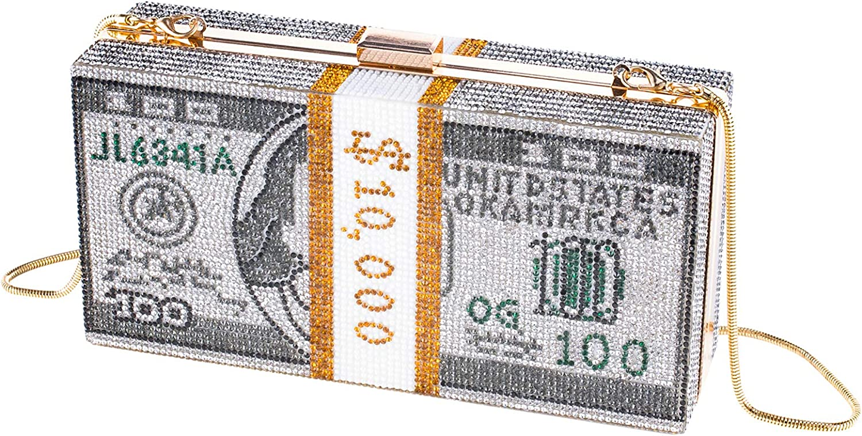 Dollars Crystal Clutch Purses Women Diamond Evening Bags Party Cocktail Rhinestone Handbags Wedding Dinner Bag
