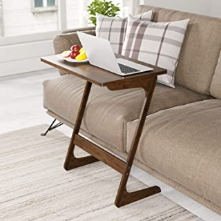 HOMFA Sofa Table End Table TV Tray Z-Shape Bamboo Snack Laptop Desk Night Stand Couch Side Table Moveable Stand in Living Room for Eating Working Writing Home Office Furniture