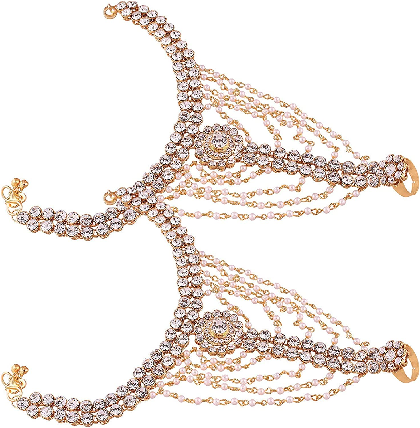 Aheli Faux Kundan Anklets with Max 51% OFF Pearl Toe Ring Baltimore Mall Attached Chai