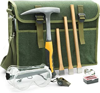 INCLY Geological Hammer Tool, Rock Pick Hammer, 3 PCS Digging Chisels Kit, with Musette Bag Safety Glasses, Compass, Whistle