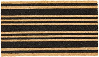 mDesign Rectangular Coir and Rubber Entryway Doormat with Natural Fibers for Indoor or Outdoor Use - Neutral - Stripe Desi...
