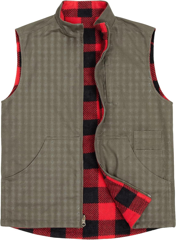 ZENTHACE Men's Reversible Casual Vest Flannel Fleece Lined Outdoor Work Safari Fishing Travel Vest Jacket