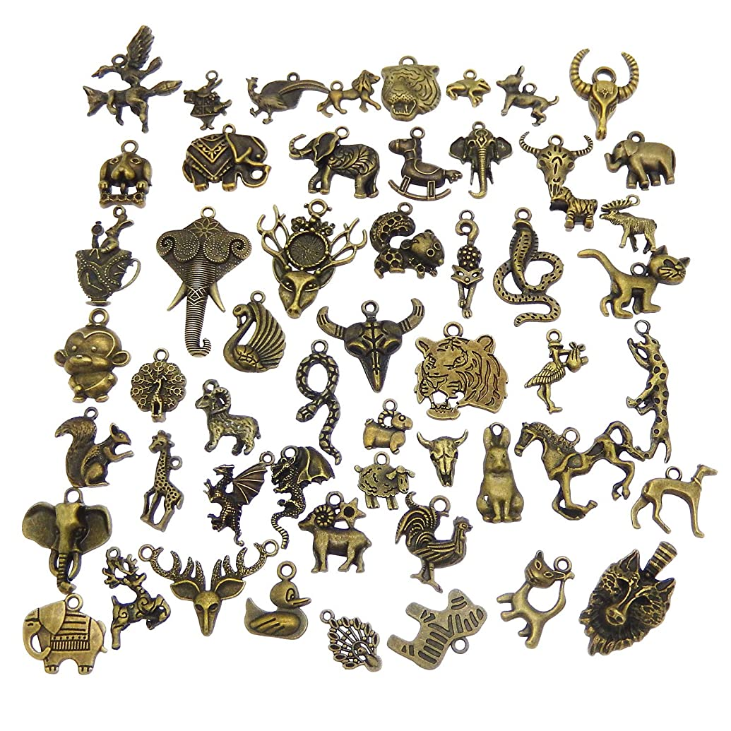 Mixed Animal Charms Craft Supplies for Jewelry DIY Necklace Bracelet Making Antiqued Bronze Colors 40pcs