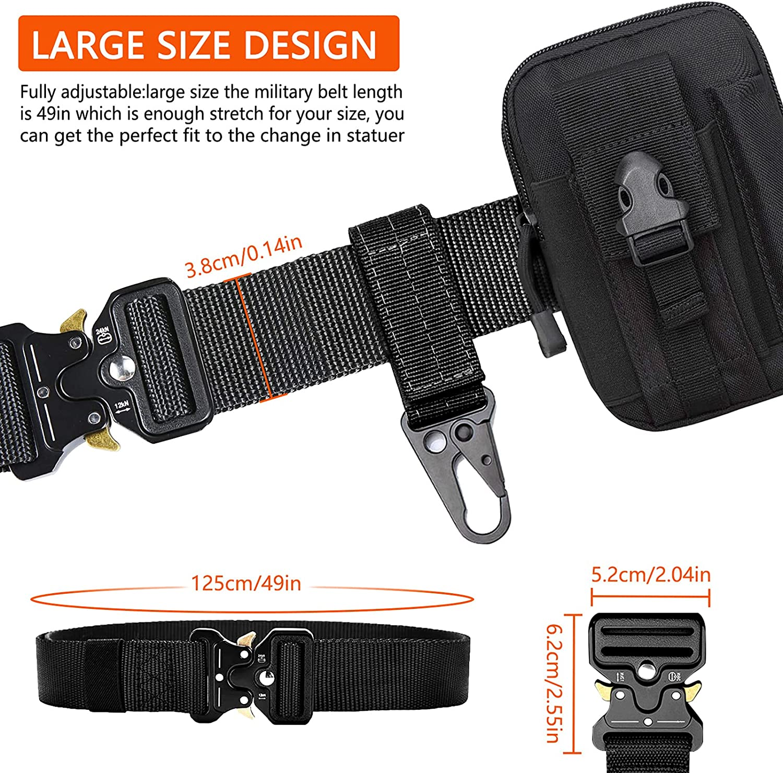 nylon estilo militar bolsa de regalo suave y gancho tactico Jkevow cinturon tactico para hombres cintur/ón de alto rendimiento de 1.5 pulgadas hebilla de metal liberaci/ón r/ápida